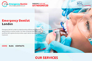 Website design and development of Emergency Dentist London