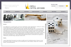 Screenshot of website Copula Capital Advisors
