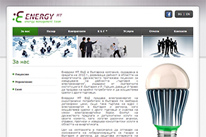 Screenshot of website Energy Management Team