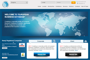 Screenshot of website EUROPEAN BUSINESS DATABASE