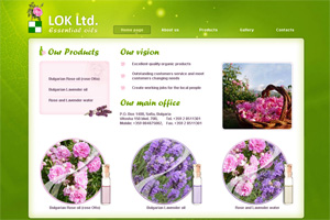 Screenshot of website Essential oils by LOK