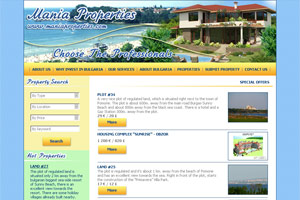 Screenshot of website Mania Properties