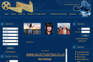 Screenshot of website Select Casting