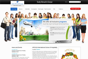 Screenshot of website Study Abroad in Europe