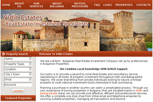 Screenshot of website Vidin Estates